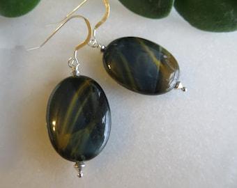 Blue Tiger Eye Earrings,  Large Semi Precious Gemstone Earrings, Stone Earrings, Dangle Earrings, TigerEye Earrings, Sterling Silver Earring