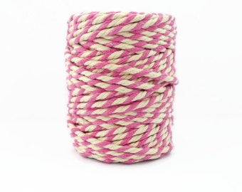 Pink Chunky Baker's Twine  20m - Extra Thick Pink & White Packaging String - 4mm Diameter