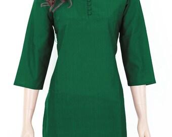 Indian Ethnic Green Cotton Short Kurti Kurta Top Tunic Blouse for Women - Ladies Dress - Button Front - All Sizes - 903143