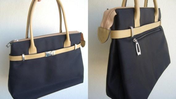 ... Handbag tan and navy blue  women handbag vintageleather handbag