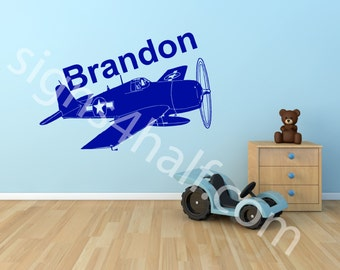 Personalized Aircraft Boys Name Removable Wall Art Décor Decal Mural Text Kids Children Room