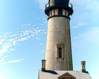 Lighthouse Photo, Vintage look, Newport Or., Fine Art Image, Yaquina Head Lighthouse Photo,