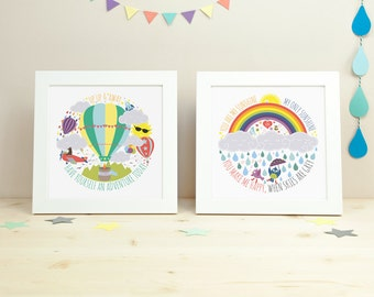 Nursery decor, Nursery art, Kids room decor, kids wall art, Childrens art - Set of 2 Prints