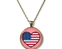 Conversation Heart with American Flag Necklace - Fourth of July Red White and Blue Jewelry - Stars and Stripes USA Flag Jewelry
