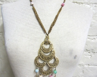 Huge Statement Necklace Beautiful Huge 60s Multi Chain Hippie Necklace with Multicolored Pastel Marbled Glass Beads