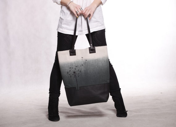 Large canvas leather tote bag. Black ombre tote with embroidered dandelion. Cotton/leather beach shopping bag.