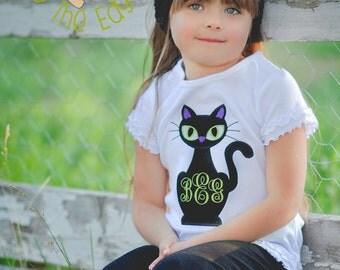 Original - Adorable Girls Black Cat Monogram T- Shirt - Personalized Halloween CatShirt - Girl Halloween Top