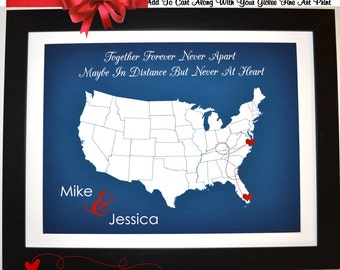 Valentines Day Long Distance Gift Love Map: Girlfriend Boyfriend Custom US Relationship Him Her Gift Present Together Forever
