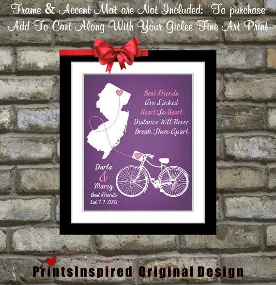 Cute Quotes About Friends Moving Away : Items similar to going away gift for best friend personalized quote art map popular cute
