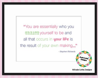 Create yourself - Positive Quote - Printable PDF Poster