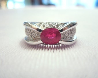 Retro Inspired Diamond and Ruby Ring