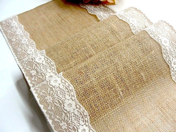 12 ft long rustic burlap and lace table runner wedding table for 12 ft table runner