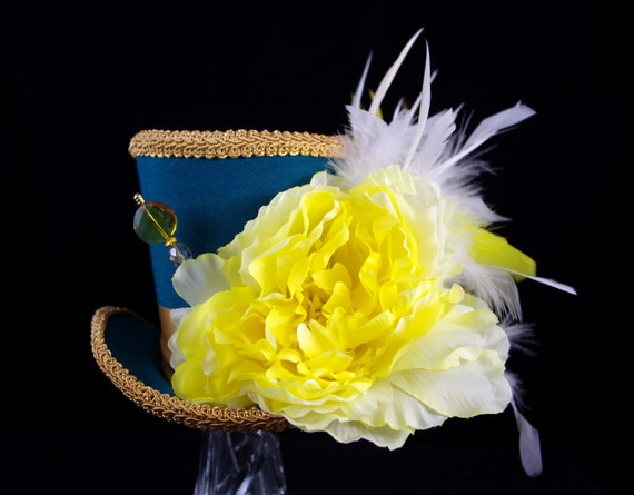 Teal, Yellow, and Gold Flower and Feather Large Mini Top Hat Fascinator, Alice in Wonderland, Mad Hatter Tea Party, Derby Hat