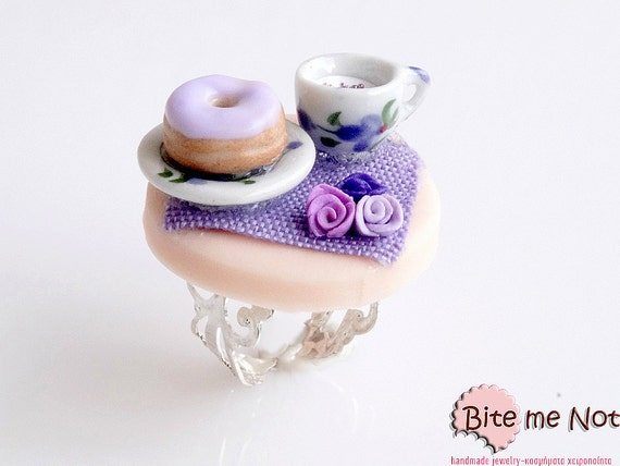 Mini Food Donut on the Table Ring, Miniature Food Jewelry, Polymer Clay Jewelry, Handmade Ring, Foodie Gift, Kawaii Jewelry, Food Jewelry
