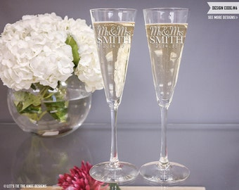 Personalized Champagne Glasses - (Set of TWO) Custom Engraved Trumpet Champagne Flutes - Personalized Wedding Gift - Engagement Gift