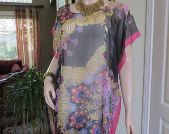 Sheer Black Abstract Pri8nt Tunic,  Sheer Black Blouse,  Sheer Black Coverup