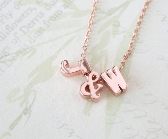 Personalized Rose Gold Letter Necklace - Rose Gold Initial Rose Gold FILLED Chain, monogram, friendship, ampersand couples initial necklace