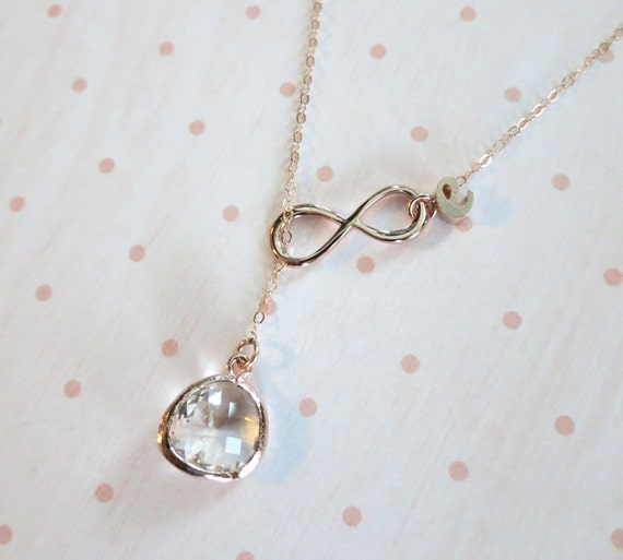 Personalised Rose Gold Glass Drop and Infinity Lariat, Y Necklace, Infinity and clear glass lariat necklace, wedding bridesmaid necklace