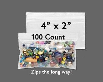 "CLEARANCE 30% Off - Plastic Bags - Zipper Bag - 4"" x 2"" - Zip Close Bags - Zip Bag - Storage Bag - Resealable Bag - 100 COUNT - Side Zip Bag"