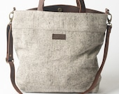 20% off - Large Tote in Natural with Dark Leather