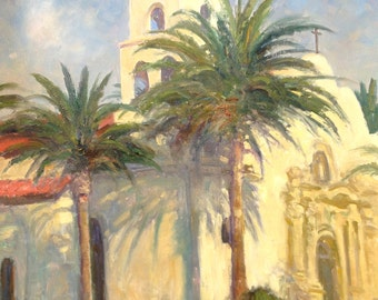 Karl Thomas Plein Air Painting Oil on Canvas California Mission Building Large 36 x 30