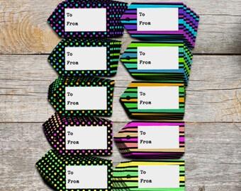 Printable gift tags - bright Christmas tags - Hang tags -  Gift wrapping supplies - Printable Christmas