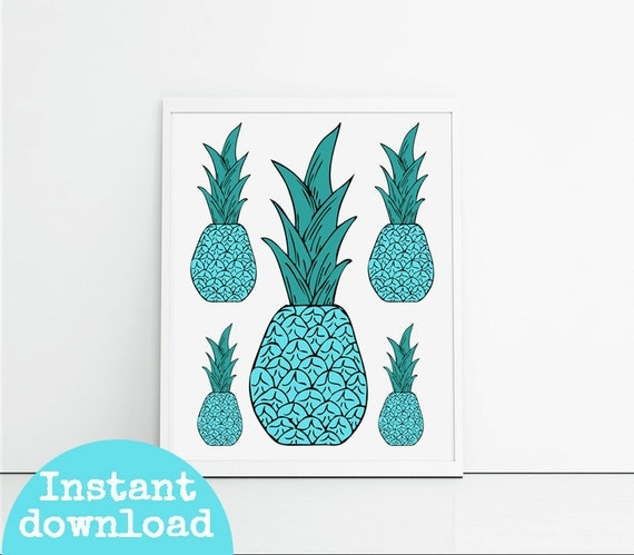 Items Similar To Pineapple Decor Kitchen Art Print 8x10 Inch Instant Download Kitchen Decor