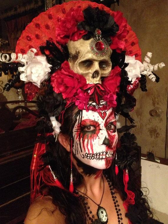 Los Muertos Sugar Skull Day Of The Dead Headdress Headpiece