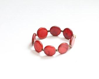 valentines day red bracelet / red jewelry birthday gift for her / boho chic bracelet / stretch bead bracelet / geometric minimalist circles