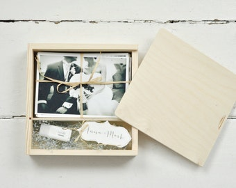"""PHOTO&USB box for 4"""" x6"""" (10x15cm) prints with compartment for usb, wedding box, packaging for photographers, photography packaging, wedding"""