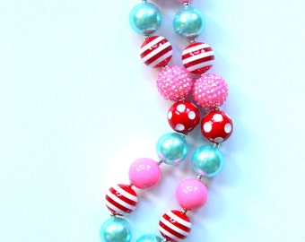 girls chunky necklace girls bubblegum necklace girls chunky bubble gum bead necklace candy necklace chunky bead necklace aqua pink red girl