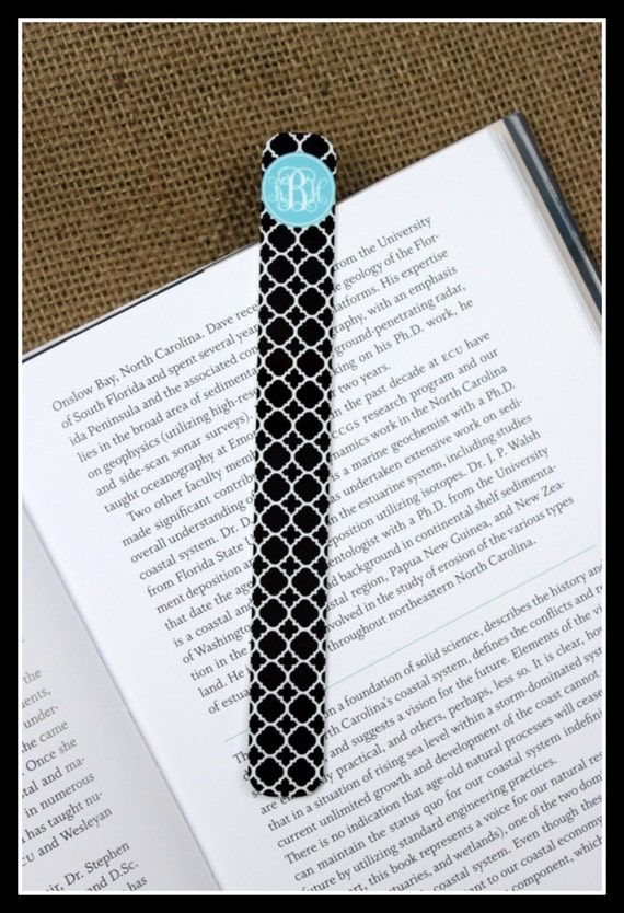 Bookmark Personalized Monogrammed Gift Book Designer Literary Teacher Gift Page Marker Book Mark