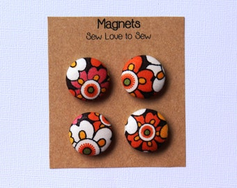 Fabric Covered Button Magnets / Big Colorful Flower Magnets / Strong Magnets / Refrigerator Magnets / Fridge Magnets