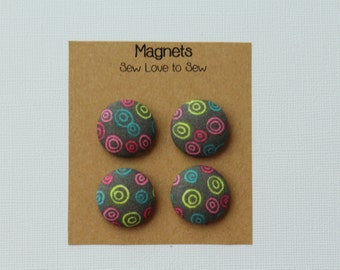 Fabric Covered Button Magnets - Neon Circles on Gray