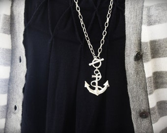 Anchors away... long anchor necklace. Big silver anchor.