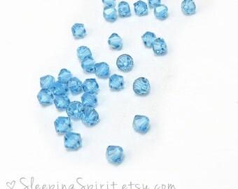 Swarovski Crystal 4mm Bicones, 24 Aquamarine Blue Swarovski Crystal Bicones, Light Blue Crystal Bicones, Beading Supplies, Item 141B