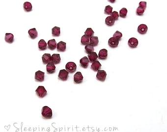 Genuine Swarovski Crystal Bicone, 24 Ruby Red 4mm Bicones, Red 4mm Swarovski Crystal Beads, Item 152B