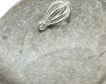 Teardrop Cage Pendant, Small Silver Teardrop Cage Charm for Pearls and Gemstones, Silver Pearl Cage, Item 163m