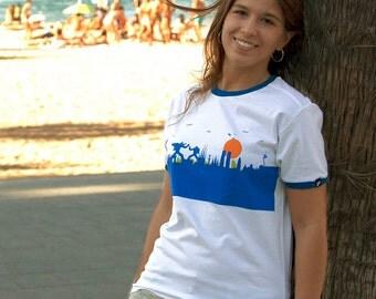 Barcelona t-shirt, Barcelona Ringer tee, Barcelona skyline, Robot shirt, Robots t-shirt, Gundam tshirt, Gundam tee, Barcelona tee, robot art