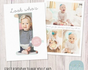 First Birthday Card - Photoshop template - AF001 - INSTANT DOWNLOAD