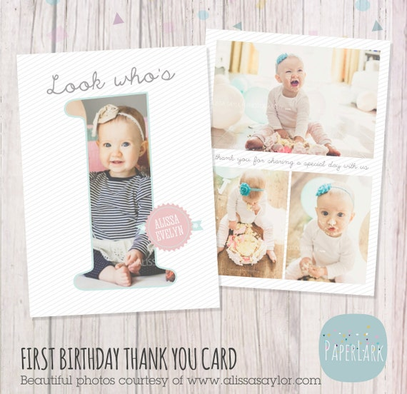 First Birthday Card Photoshop template AF001 INSTANT – First Birthday Thank You Cards