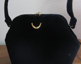 50s / 60s Black Velvet Clutch with Gold Clasp