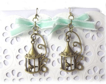 the golden cage - earrings mint earrings with bronze bird cage