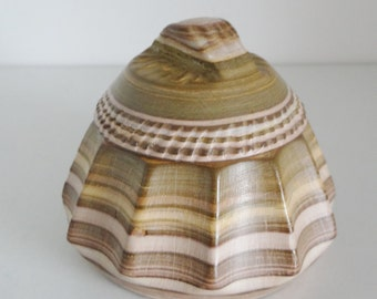 Vintage Trinket Box Carved Resin Decorative Striped With Sand Patterns And Shell Like Detailing Circa 1960's