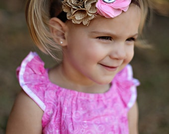Pink Cowgirl Headband, Pink Burlap Headband, Country Baby Bow, Baby Shower Gift, Stocking Stuffer, Pink Country Headband, Burlap Baby