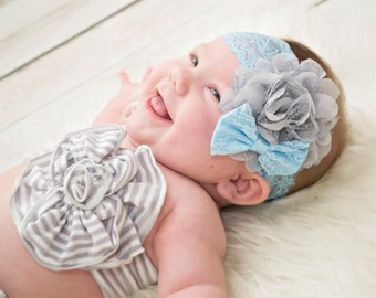 Gray Lace Headband, Blue Grey Headband, Blue Baby Headband, Blue Gray Headband, Newborn Photo Prop, Baby Shower Gift, Grey Lace Headband