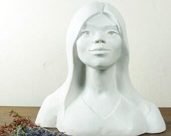 60s Sculpture / Female Portrait Bust / Large