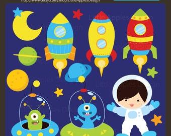 Outer Space ClipArt / Outer Space Clip Art / Space Clip Art / Space Clipart / Rocket Clip Art  / Alien Clip Art / Astronaut Clipart /