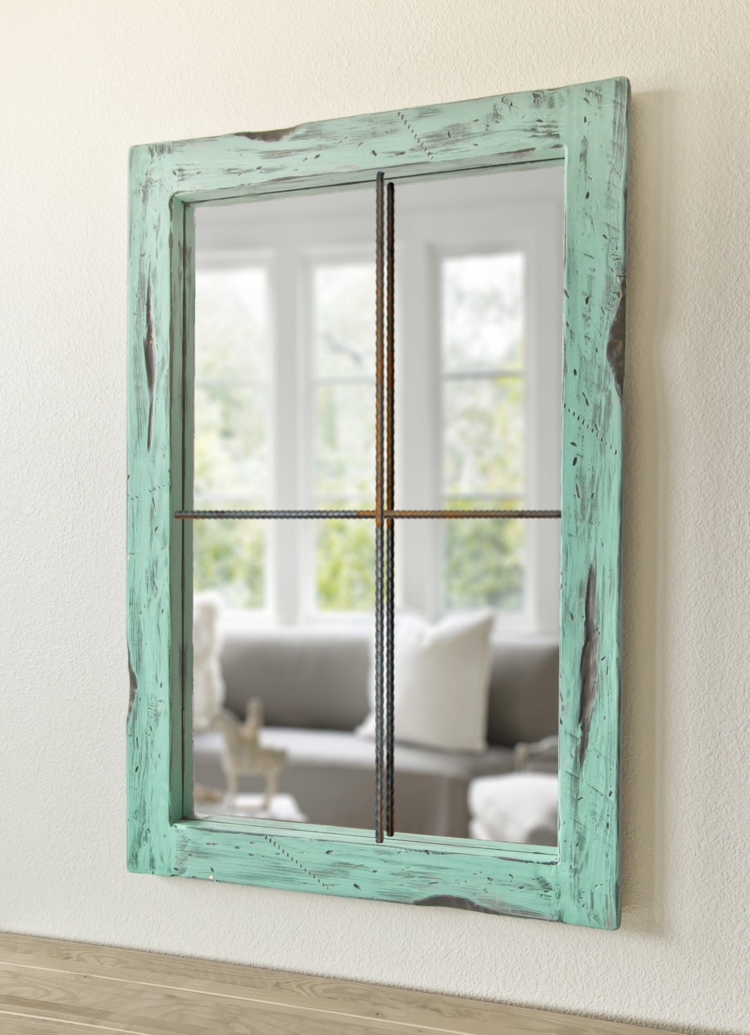 Rustic mirror distressed faux window vintage green for Decoration miroir fenetre