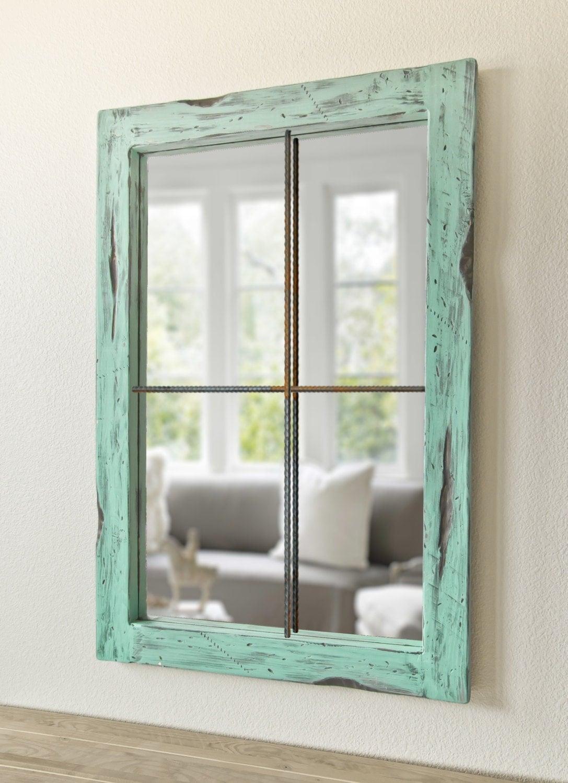 Rustic mirror distressed faux window vintage green for Miroir fenetre metal